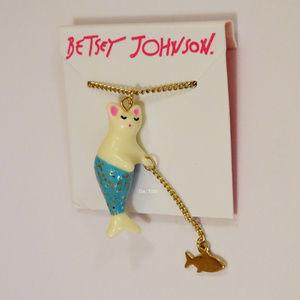 Betsey Johnson Mercat & Fish Pendant Necklace